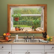 Garden window over kitchen sink