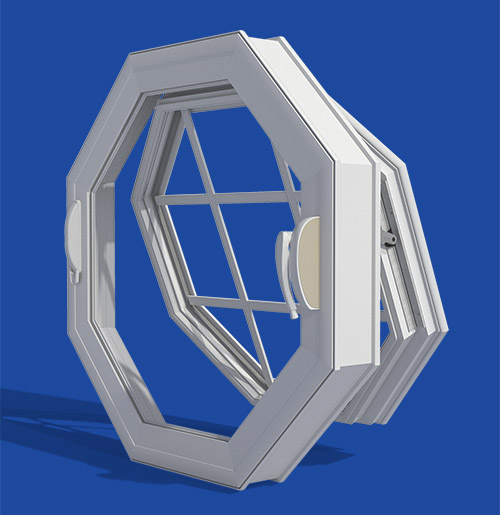 Vinyl operable octagon window ventana usa for Operable awning windows